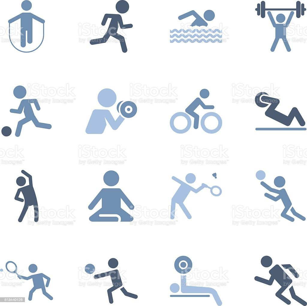 fitness and sport icons vector art illustration