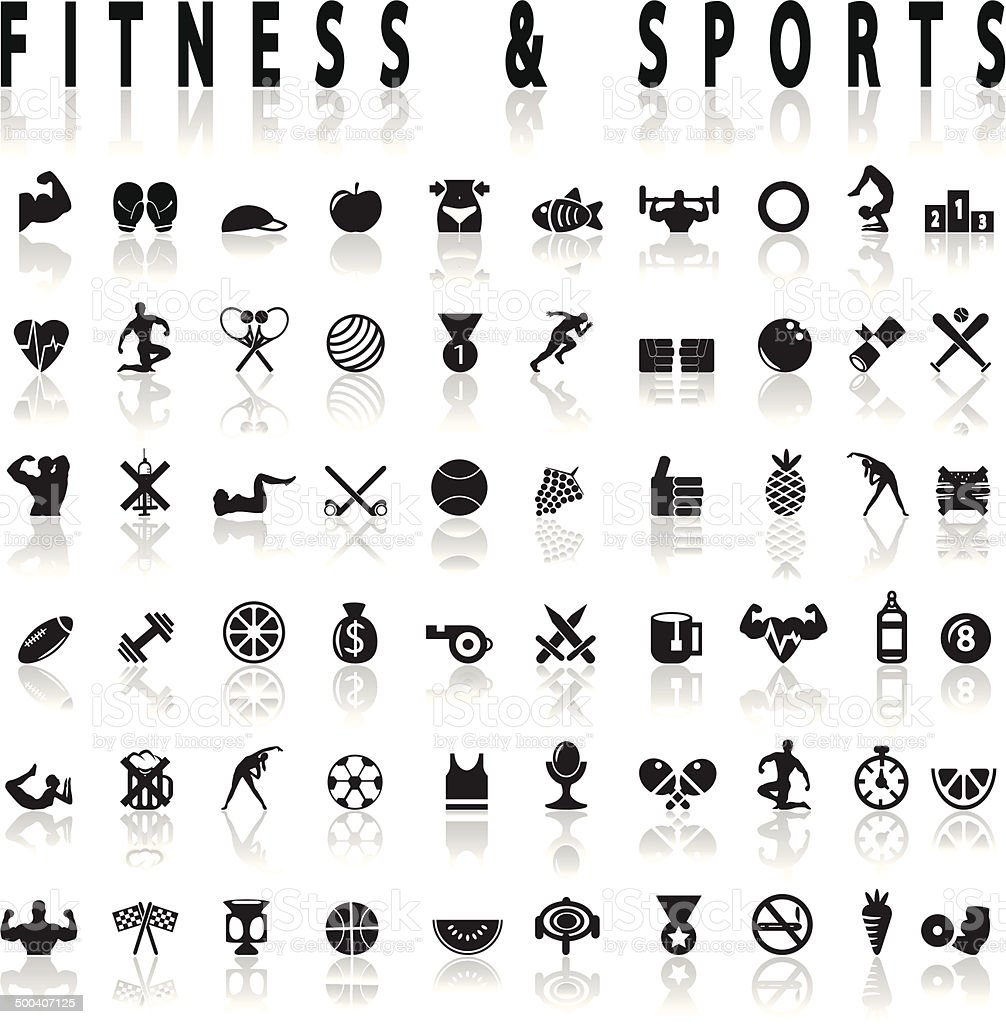 Fitness and sports Icons vector art illustration