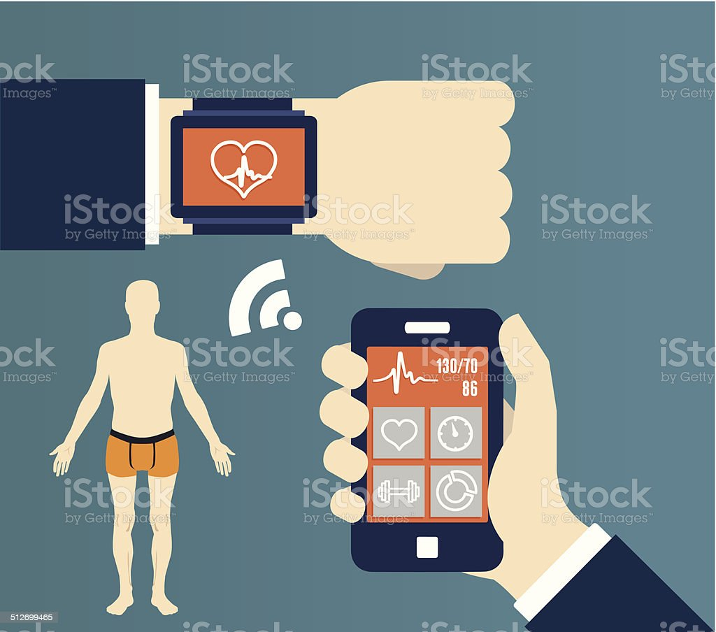 Fitness application for health. Synchronization of devices vector art illustration