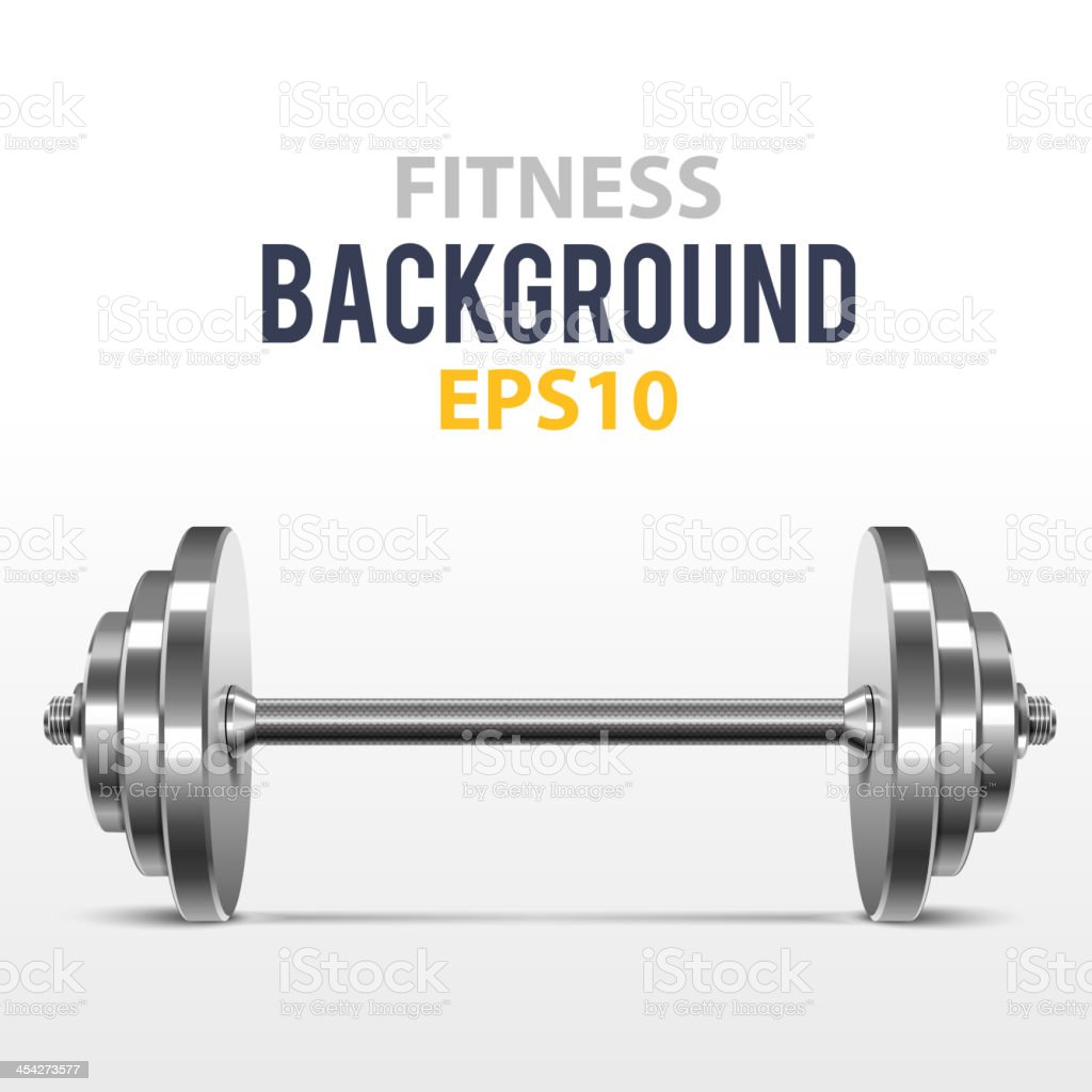 Fitness background with metal dumbbell vector art illustration