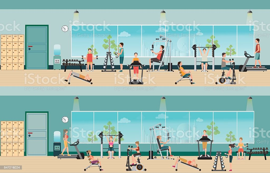 Fitness cardio exercise and equipment with people in fitness gym interior vector art illustration