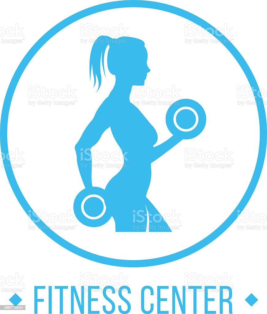 Fitness center logo. Vector woman silhouette with dumbbells vector art illustration