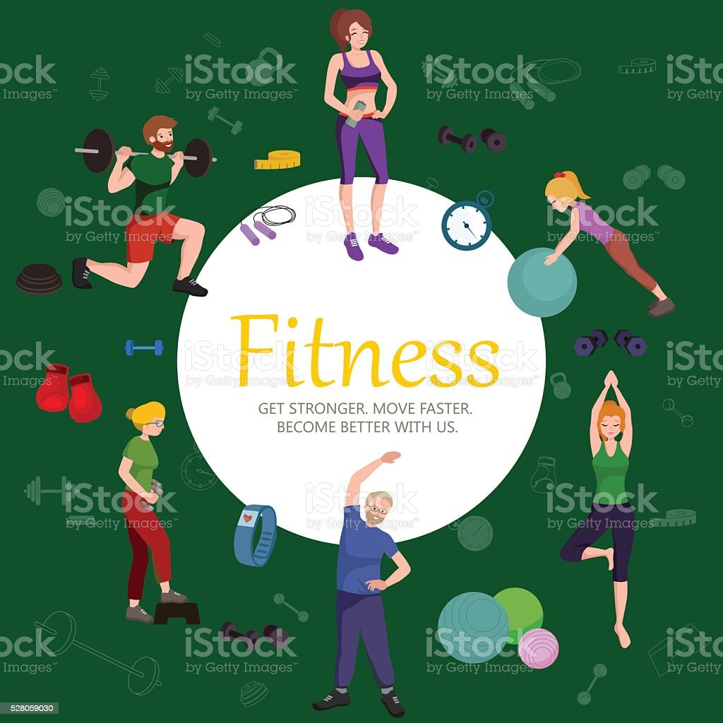 Fitness concept flat Isolated vector illustration, active people vector art illustration