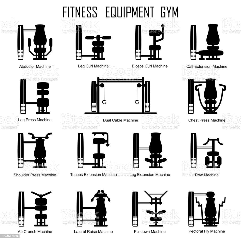 Fitness equipmrnt gym vector art illustration
