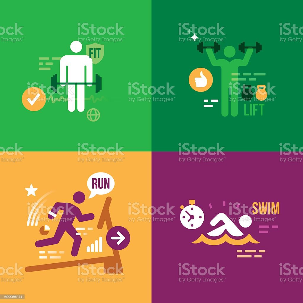 Fitness Exercise Health People vector art illustration