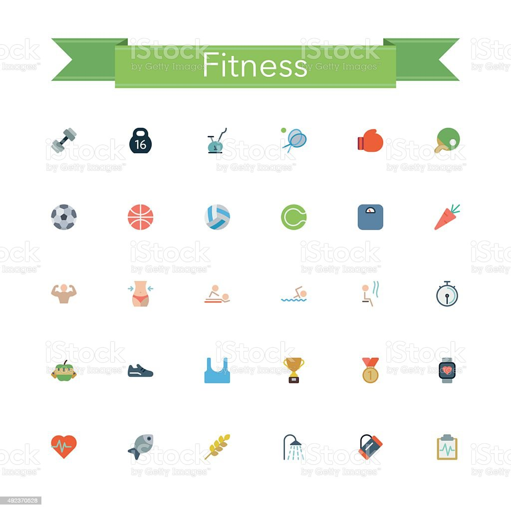 Fitness Flat Icons vector art illustration