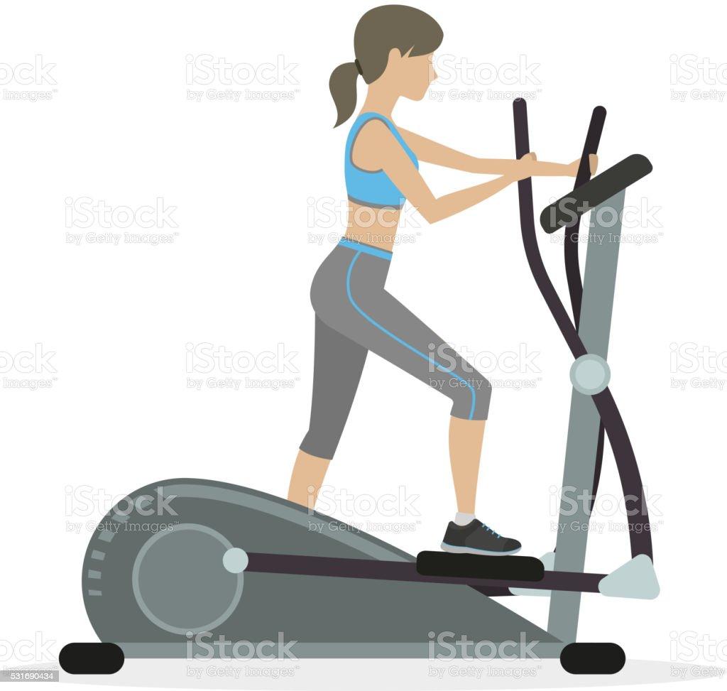 Fitness girl on the elliptical trainer vector art illustration