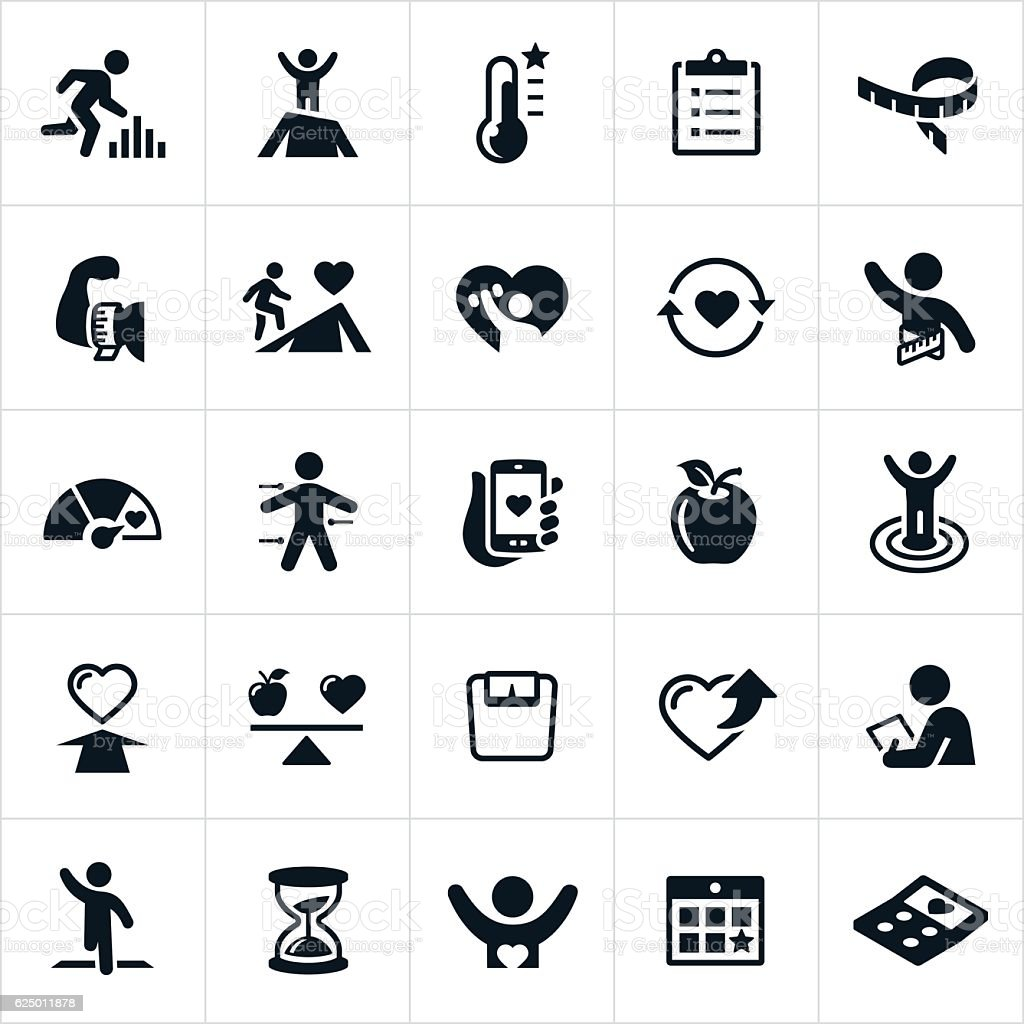 Fitness Goals Icons vector art illustration
