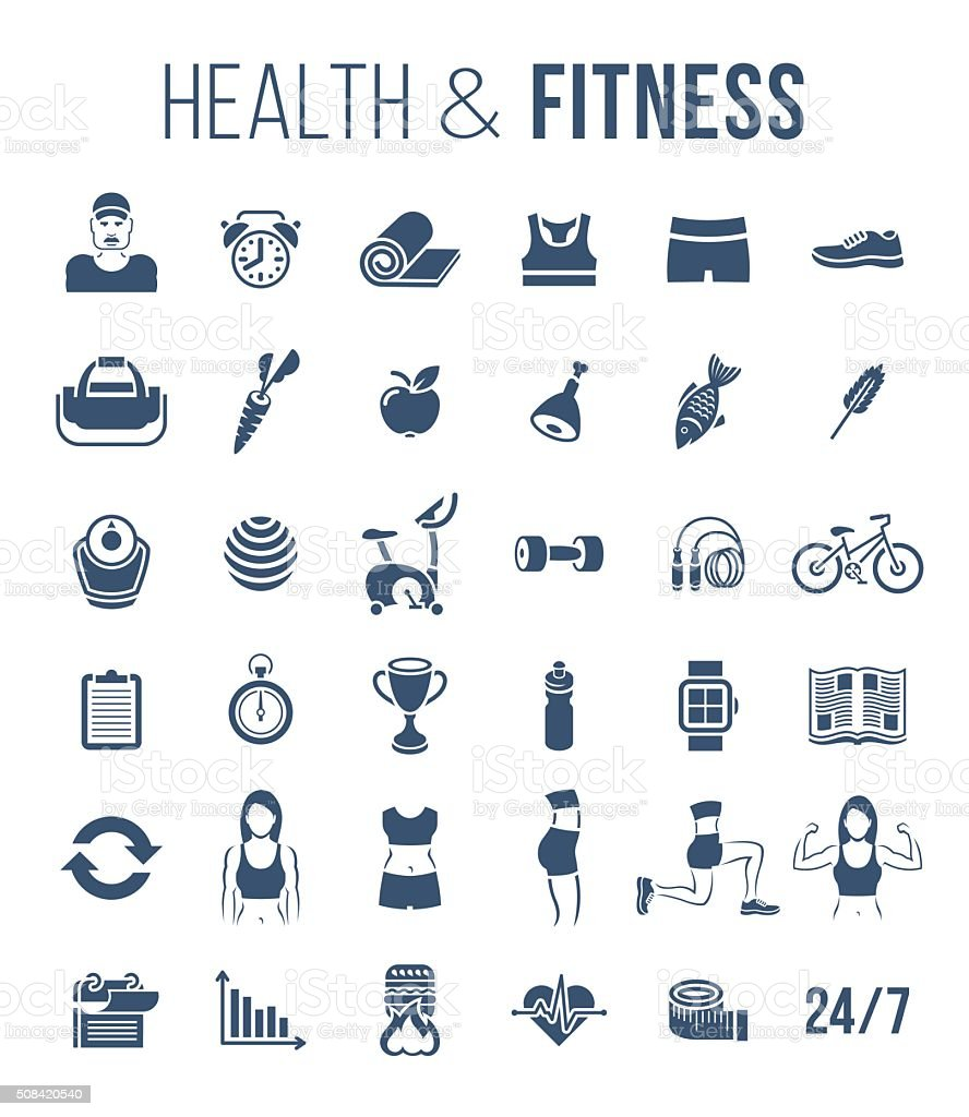 Fitness gym and healthy lifestyle flat silhouettes vector icons vector art illustration