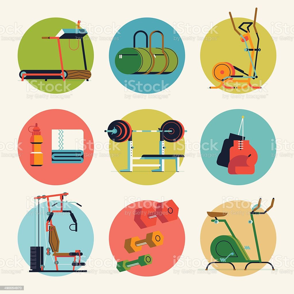 Fitness gym exercise equipment round icons vector art illustration