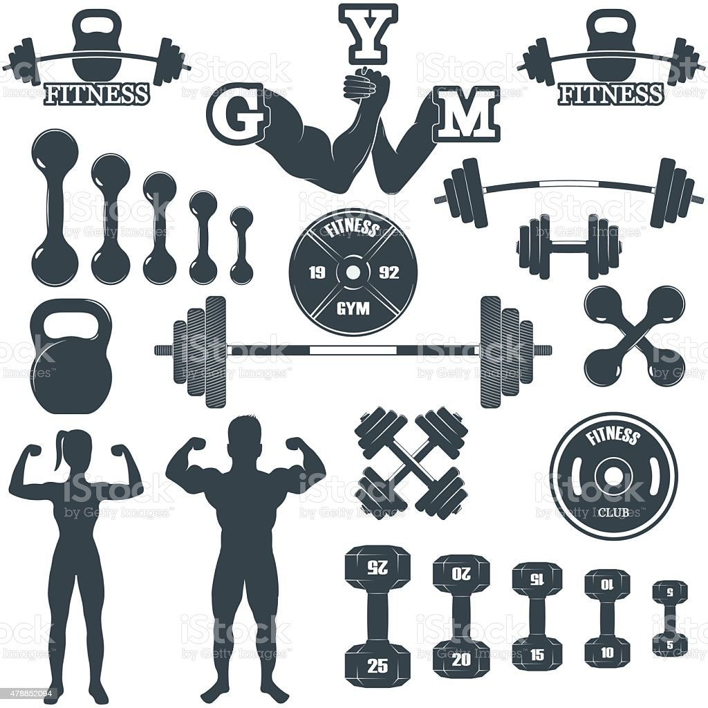 Fitness gym icons vector art illustration