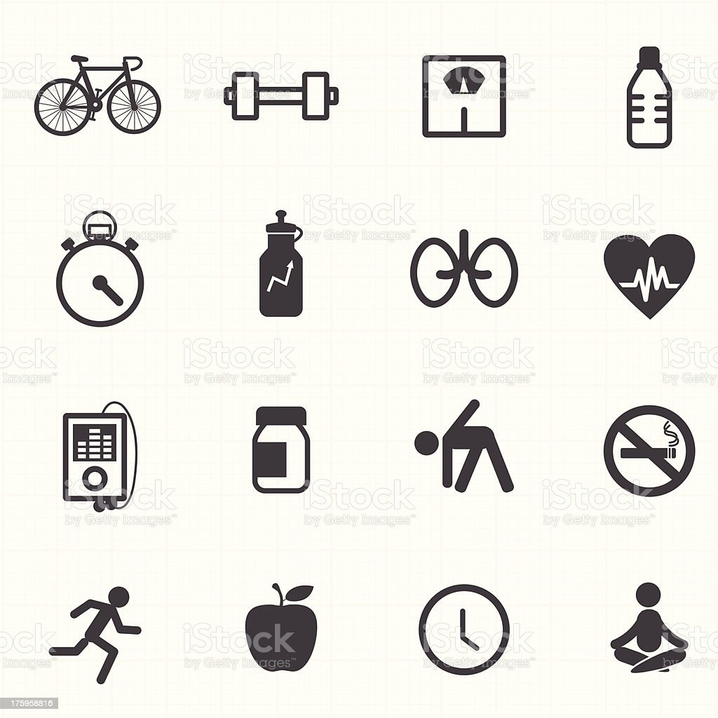 Fitness healthcare icons set royalty-free stock vector art
