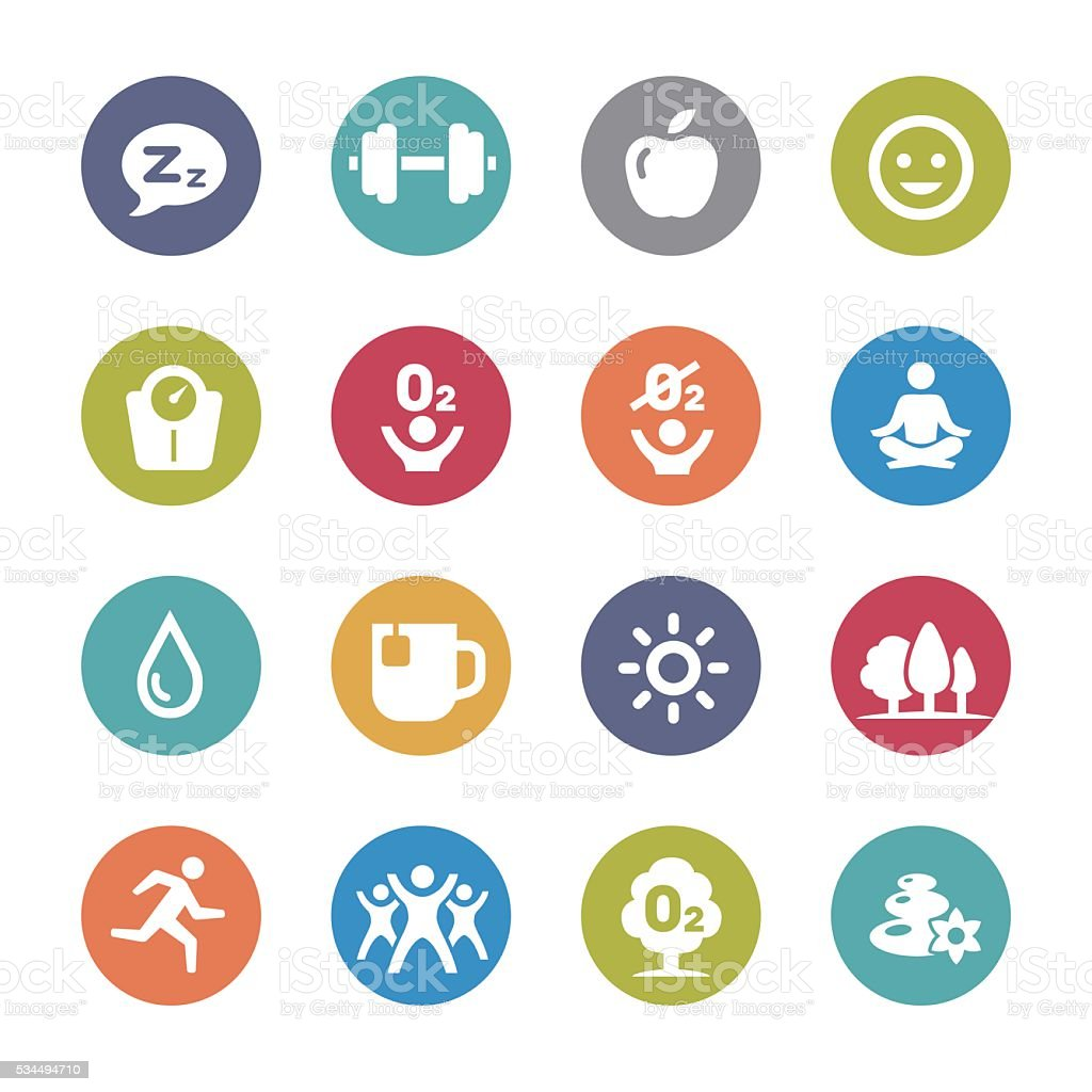 Fitness, Healthy Life Style Icons - Circle Series vector art illustration