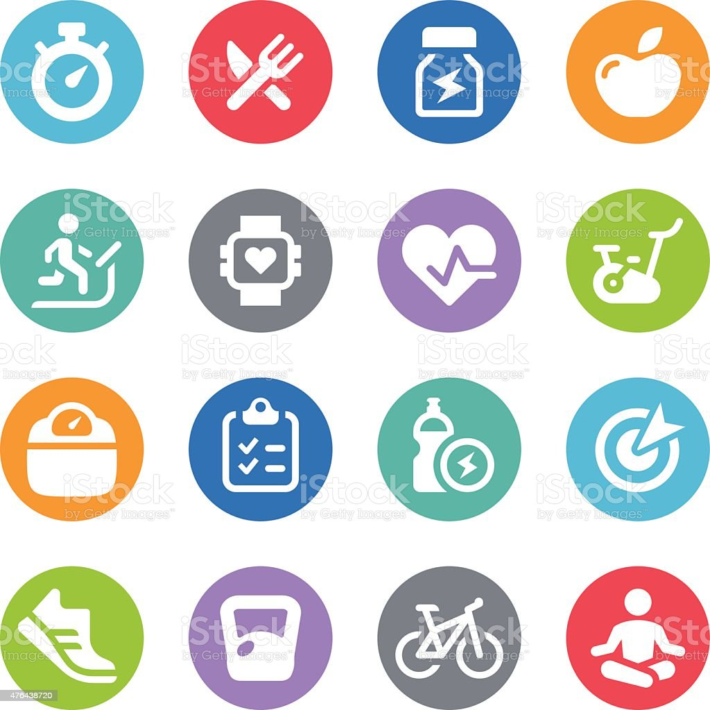 Fitness Icon Set - Circle Illustrations vector art illustration