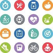 Fitness Icon Set - Circle Illustrations