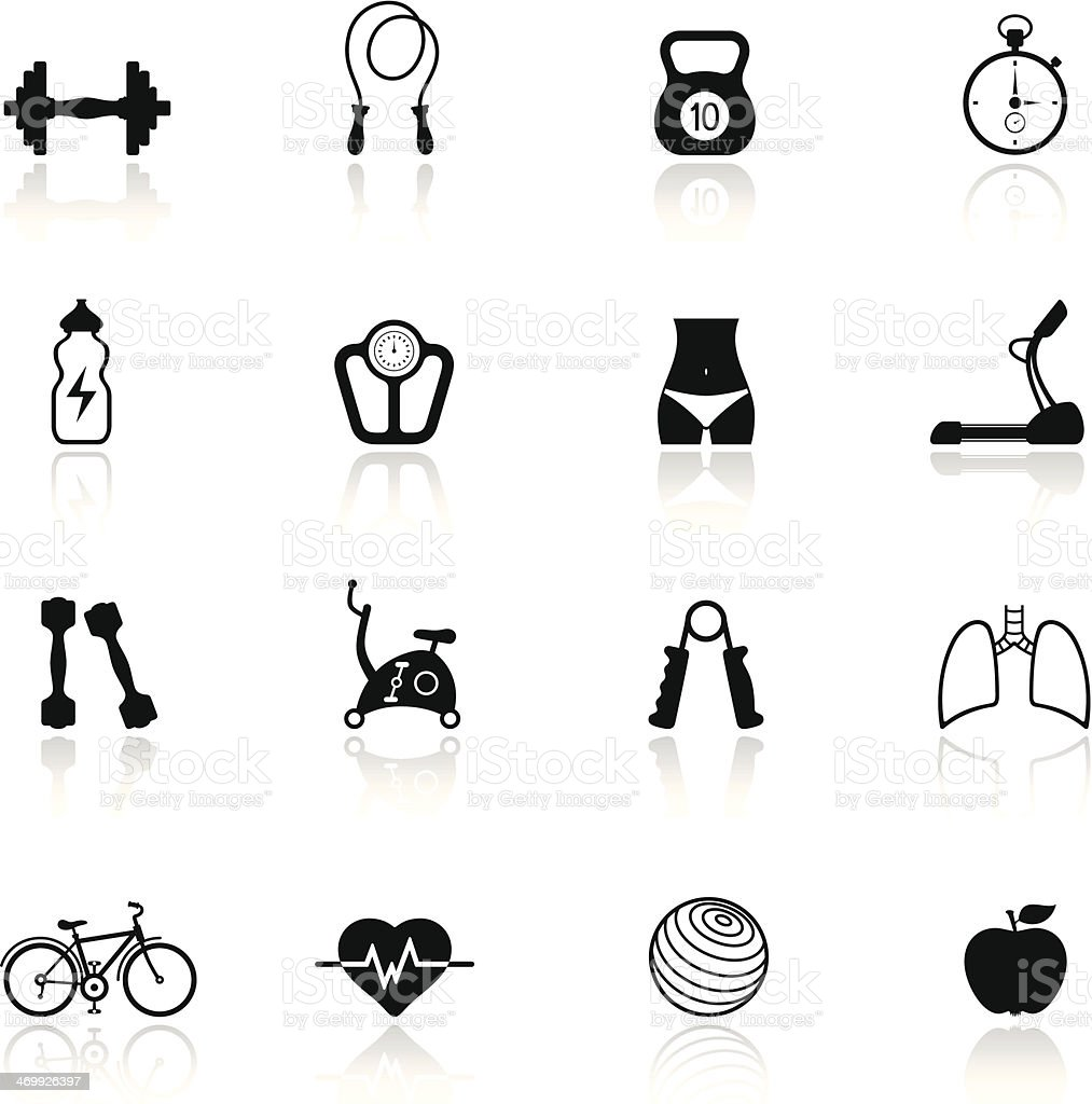 Fitness icon set colored in black and white vector art illustration