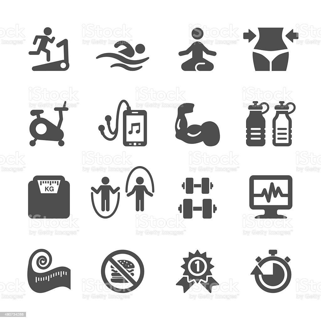 fitness icon set, vector eps10 vector art illustration