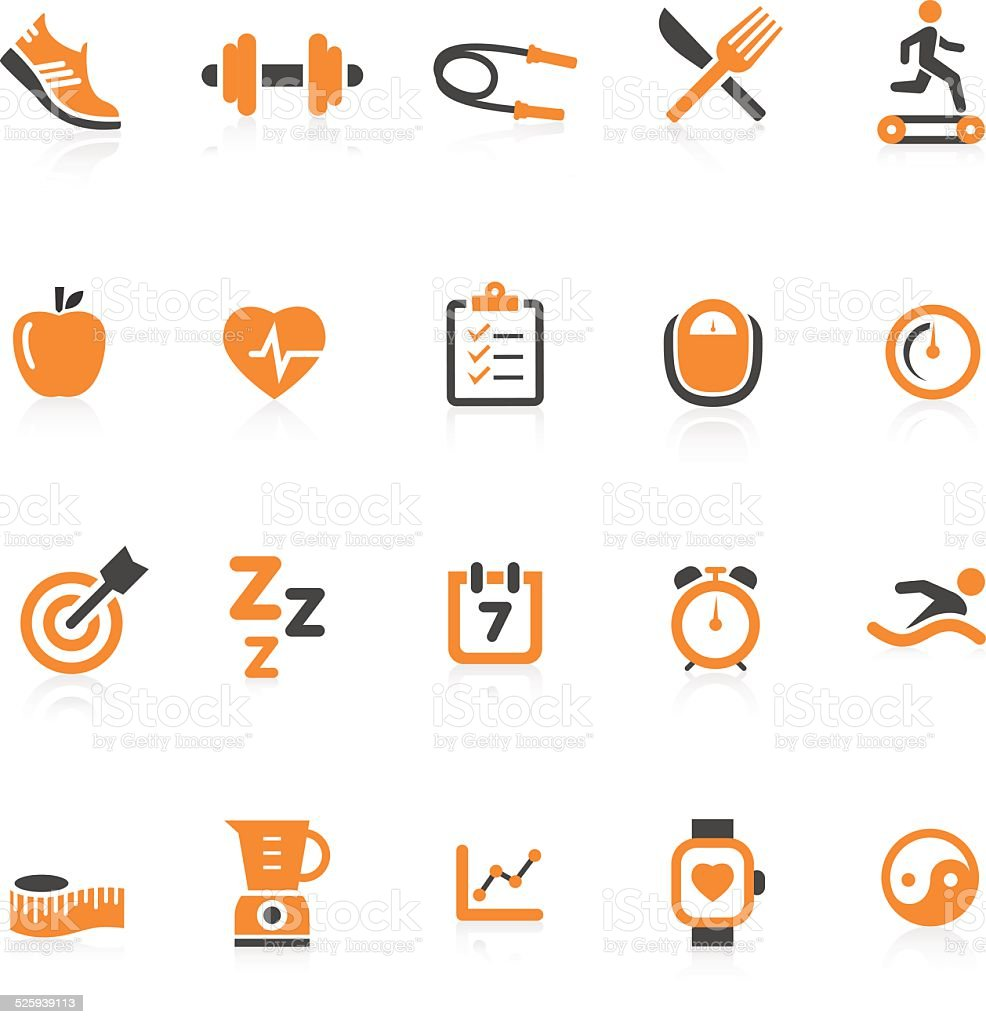 Fitness Icon Set vector art illustration