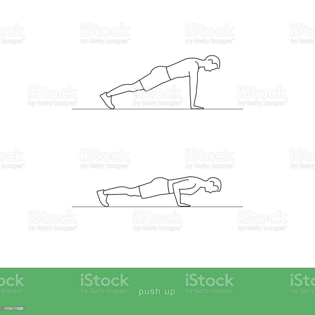 Fitness Icon Workout - push up vector art illustration
