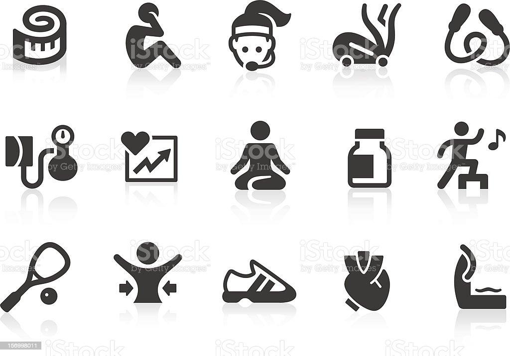 Fitness icons 2 vector art illustration