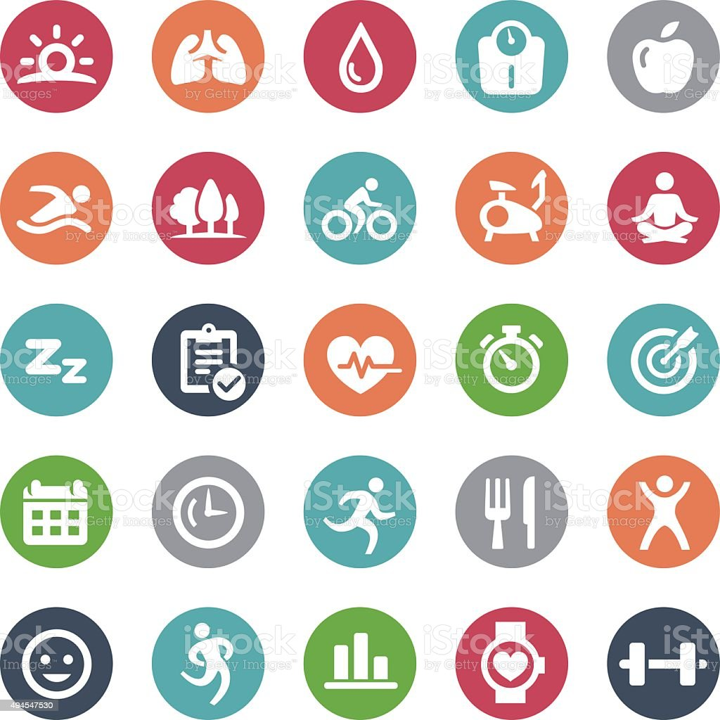 Fitness Icons - Bijou Series vector art illustration