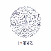 Fitness icons circle background design