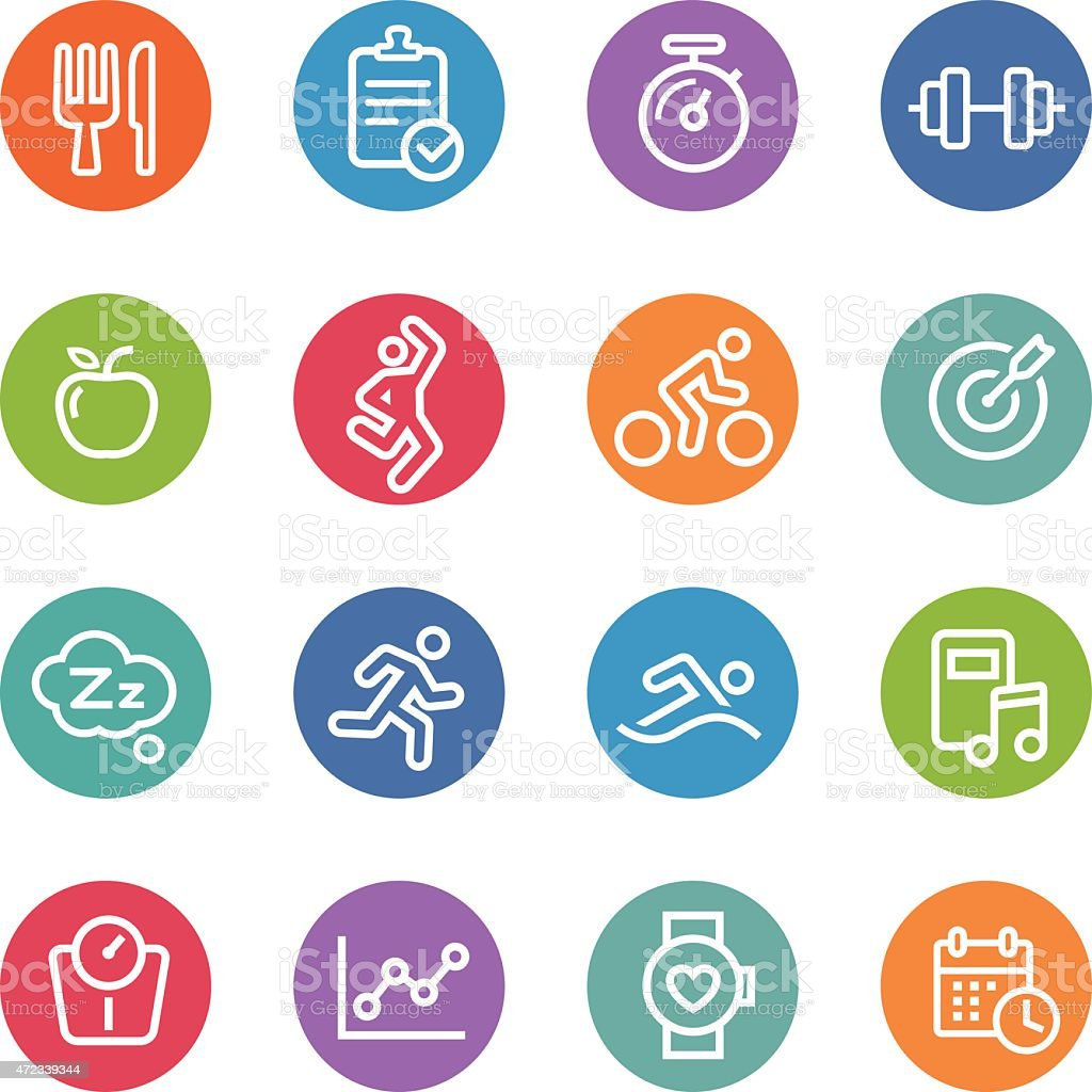 Fitness Icons - Circle Line Series vector art illustration