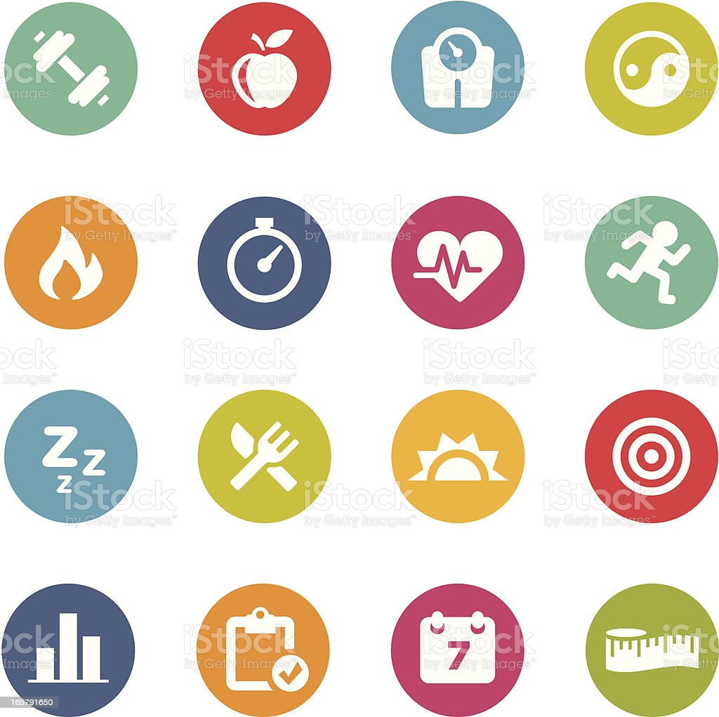 Fitness Icons | Circle Series vector art illustration