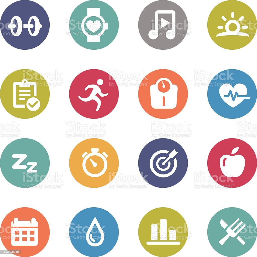 Fitness Icons - Circle Series vector art illustration