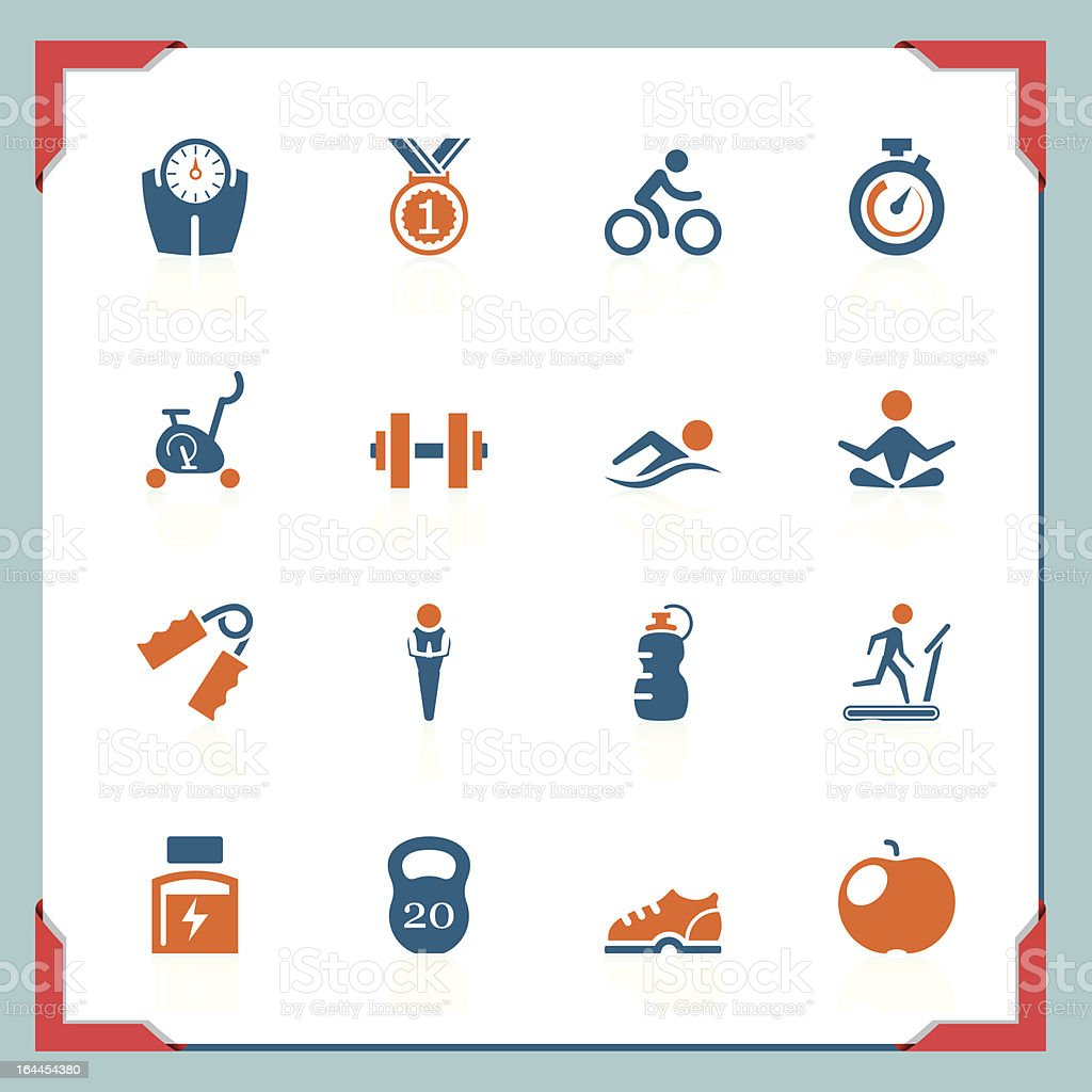 Fitness icons | In a frame series royalty-free stock vector art