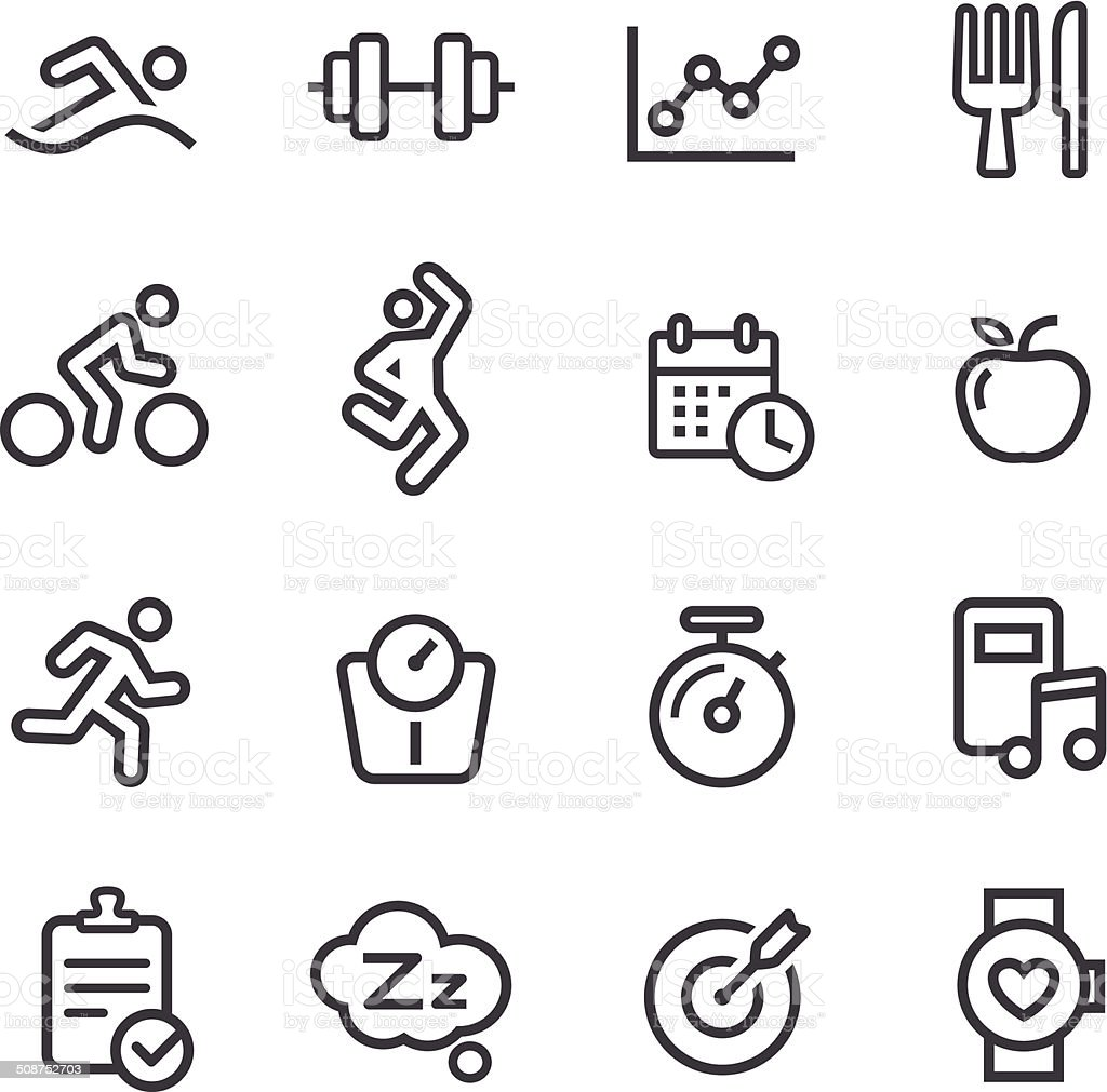 Fitness Icons - Line Series vector art illustration