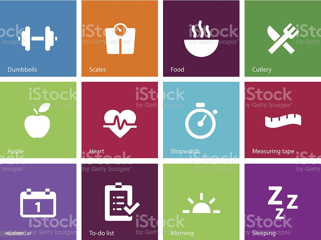 Fitness icons on color background. royalty-free stock vector art