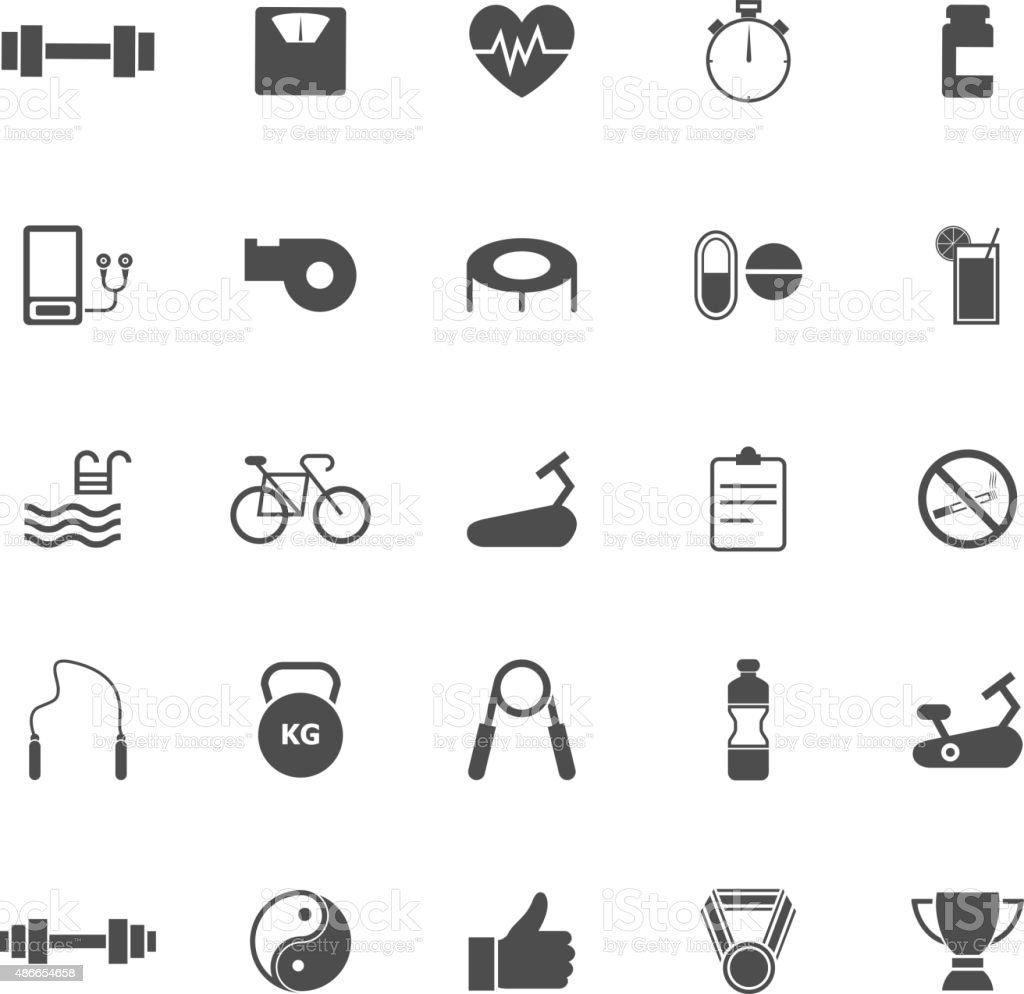 Fitness icons on white background vector art illustration