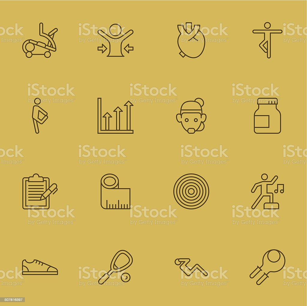 Fitness icons | Set 2 - Light Color vector art illustration