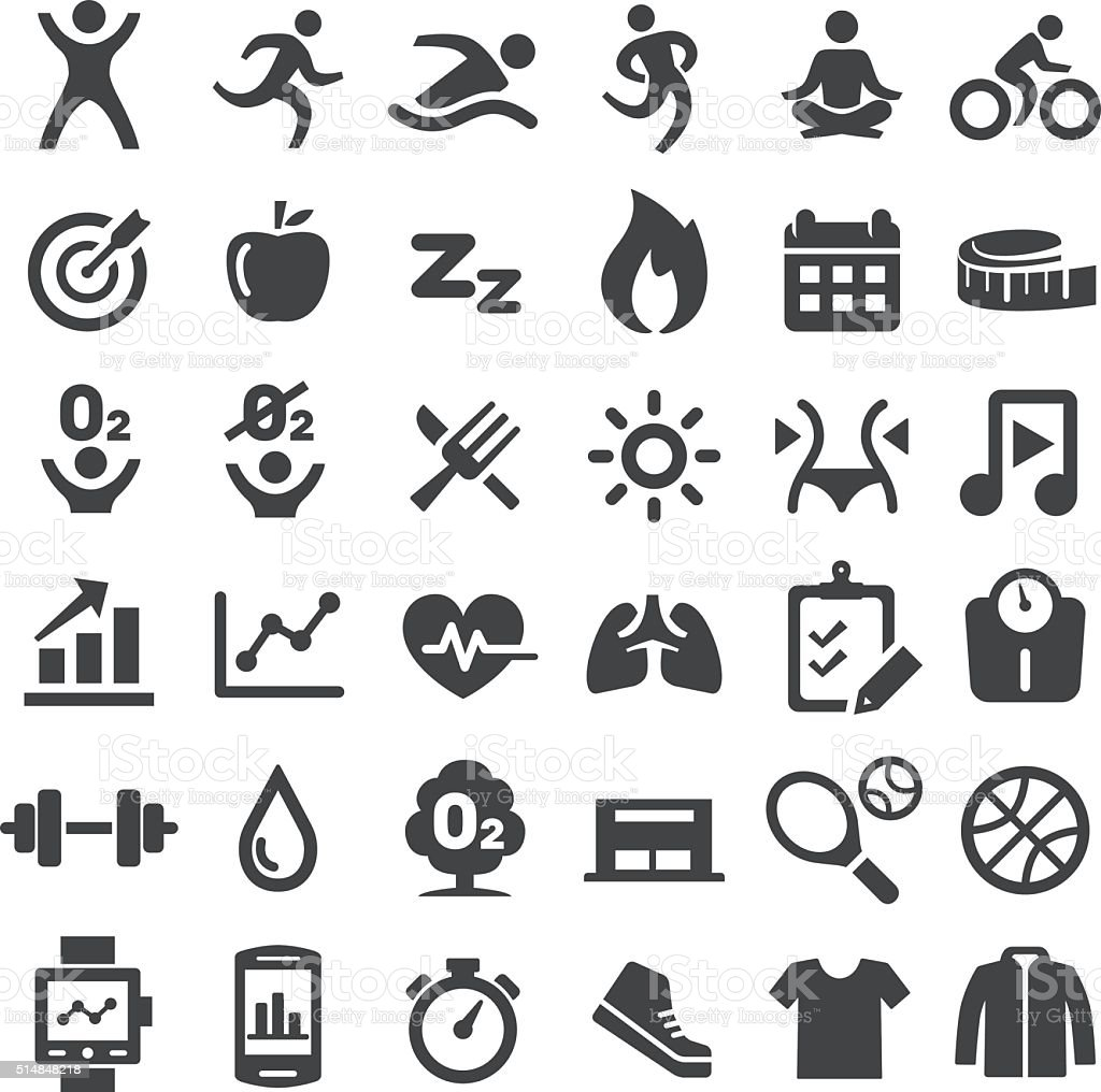 Fitness Icons Set - Big Series royalty-free stock vector art