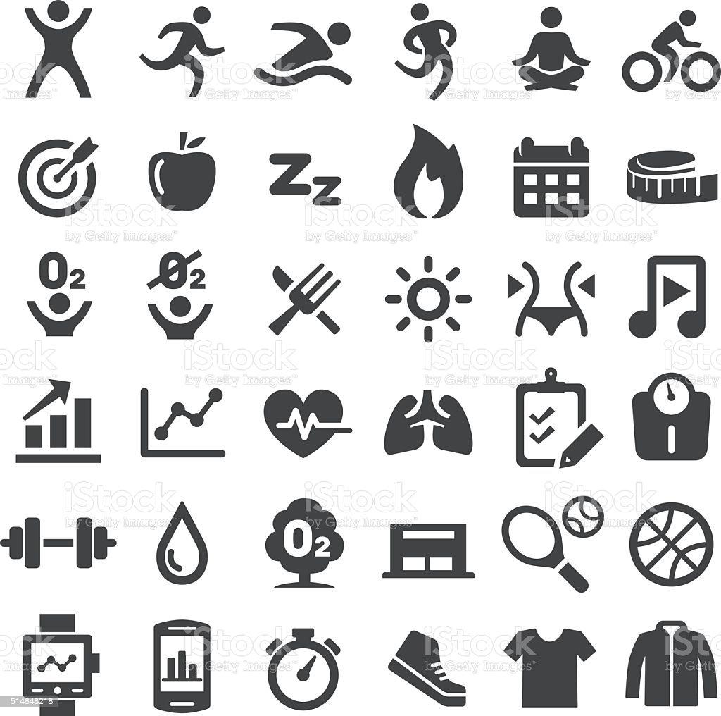 Fitness Icons Set - Big Series vector art illustration