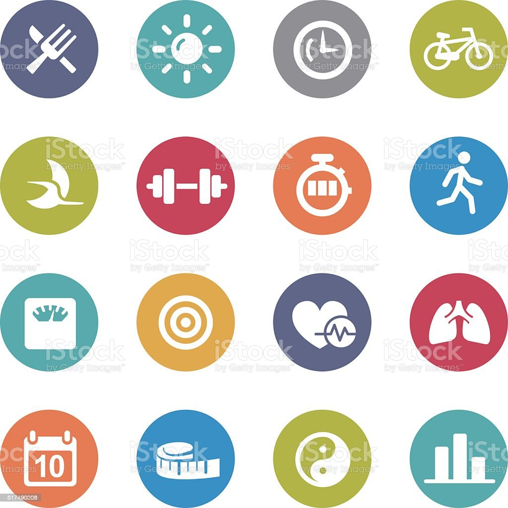 Fitness Icons Set - Circle Series vector art illustration