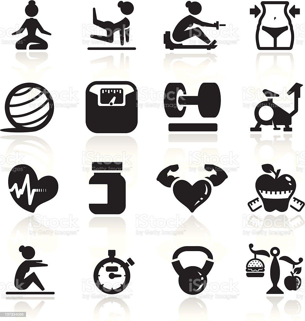 Fitness Icons set elegant series vector art illustration