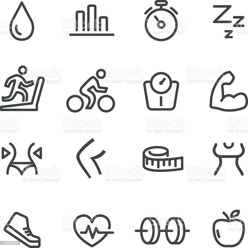 Fitness Icons Set - Line Series vector art illustration