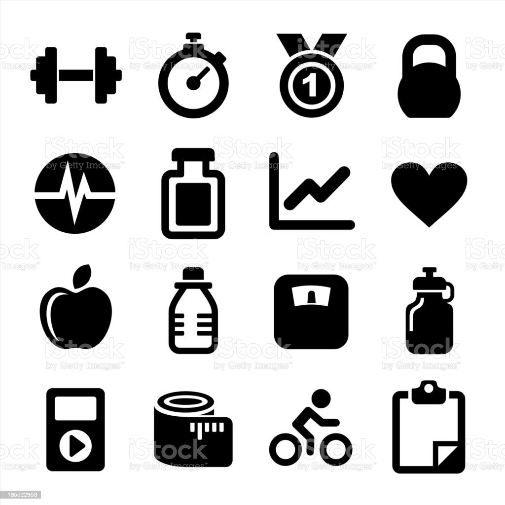 Fitness icons set royalty-free stock vector art