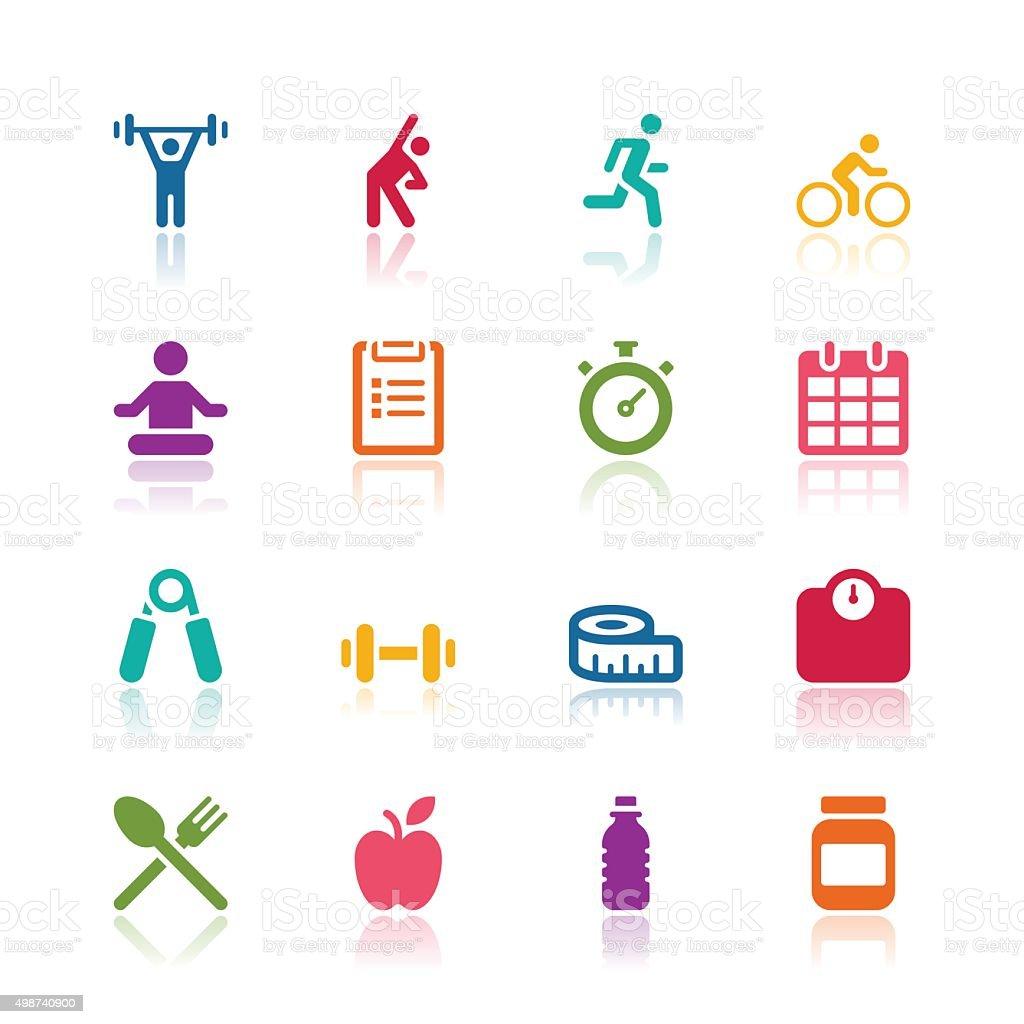 Fitness icons vector art illustration