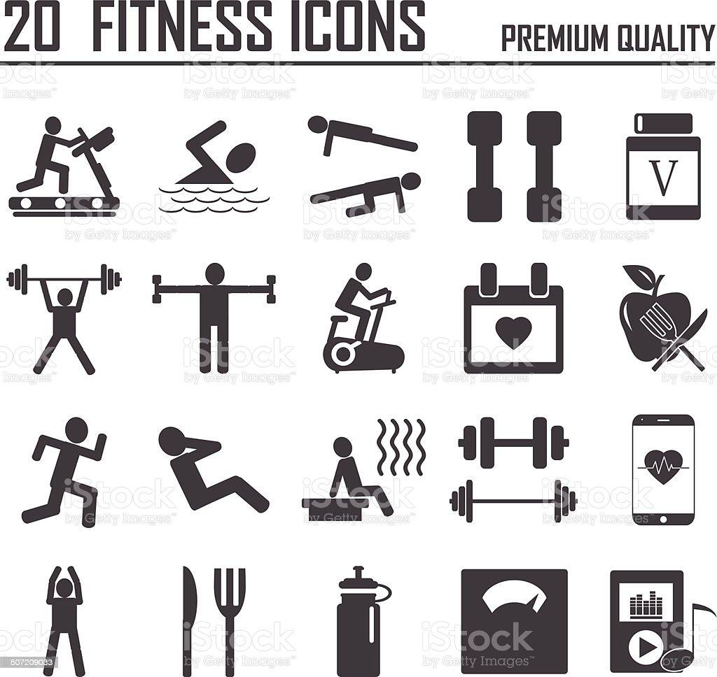 20 Fitness Icons vector art illustration