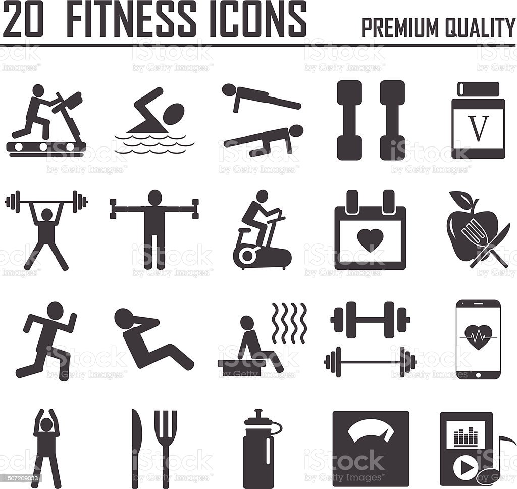 20 Fitness Icons vector art illustration