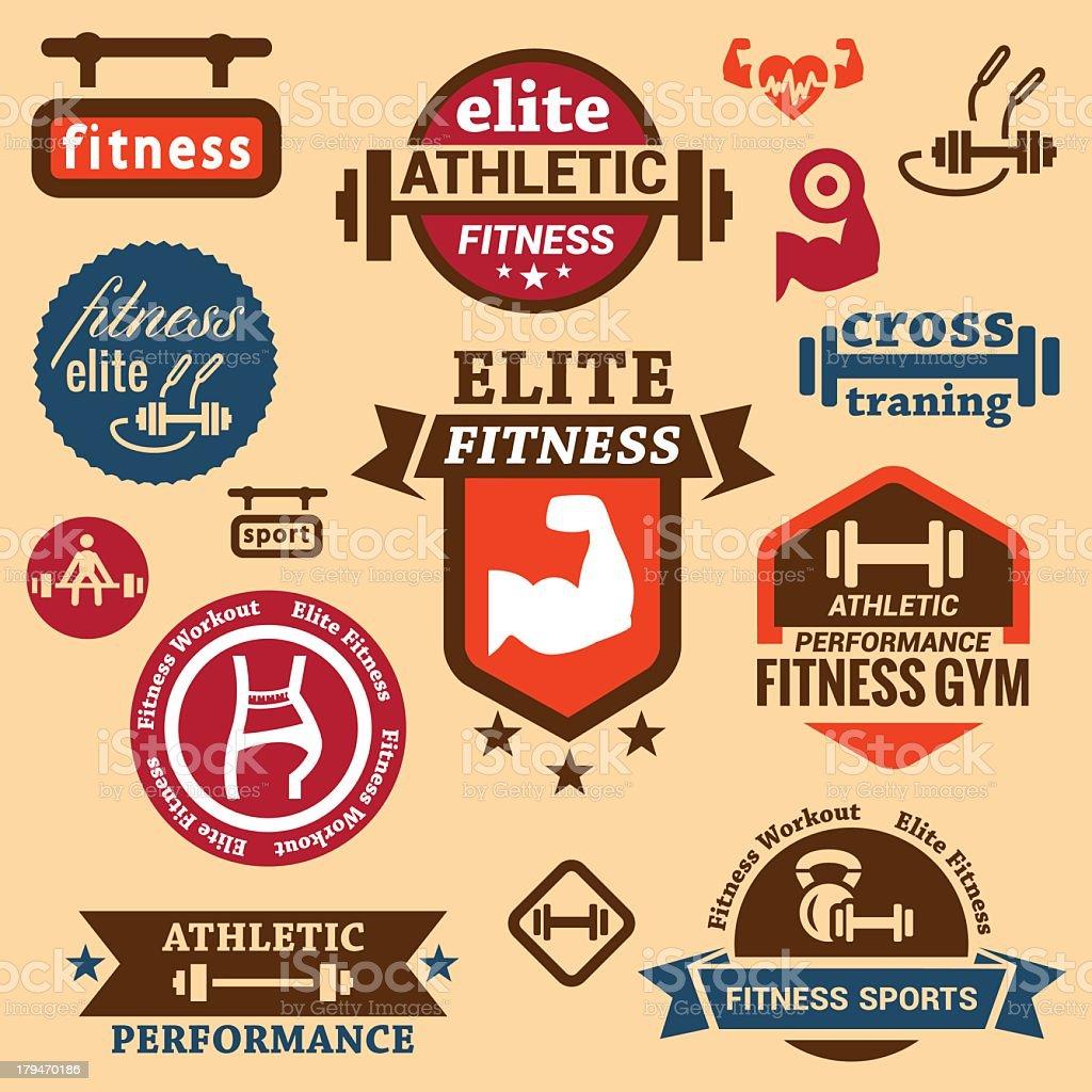 fitness labels vector art illustration
