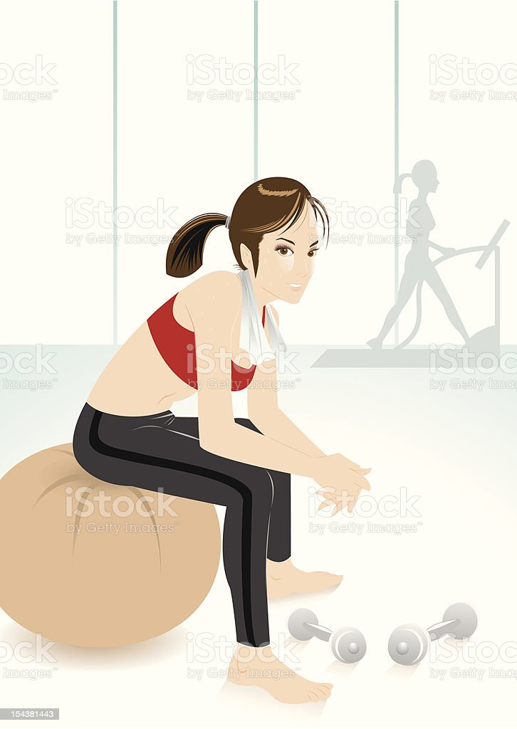 fitness lady vector art illustration