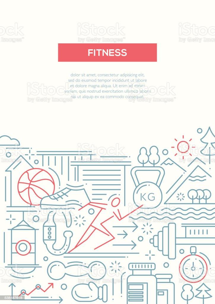 Fitness - line design composition vector art illustration