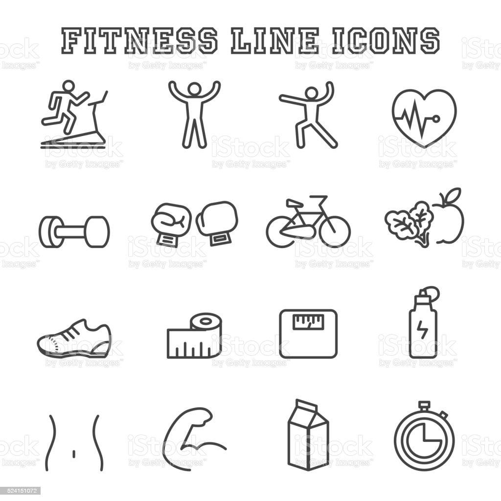 fitness line icons vector art illustration