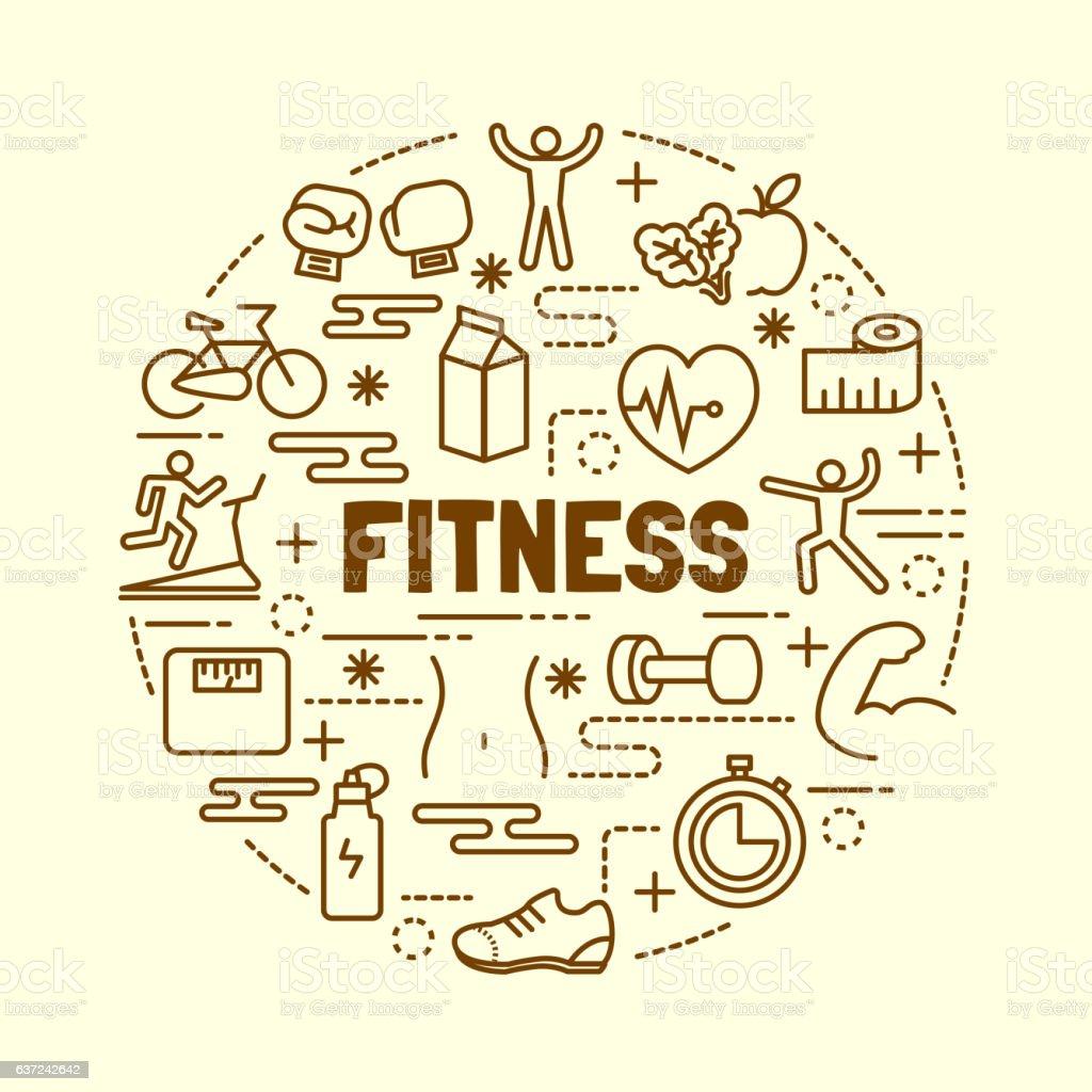 fitness minimal thin line icons set vector art illustration