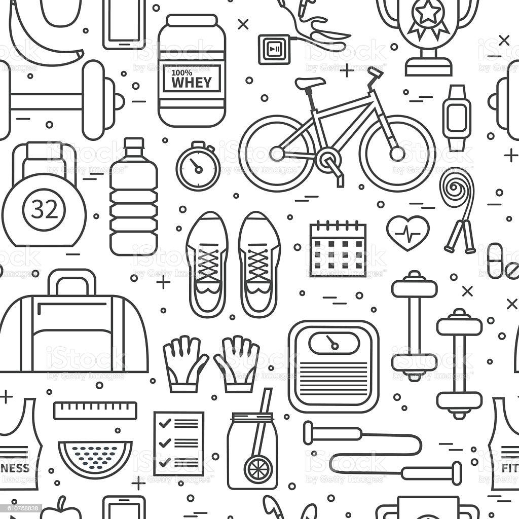 Fitness pattern vector art illustration