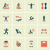fitness people icons set